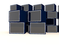 Escaparate azul vacío Imagen de archivo libre de regalías