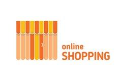 Escaparate con el icono del toldo Compras en línea Foto de archivo