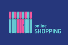 Escaparate con el icono del toldo Compras en línea Imagen de archivo