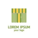Escaparate con el toldo Plantilla del logotipo Compras Imagen de archivo