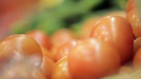 Escaparate con las porciones de tomates almacen de metraje de vídeo