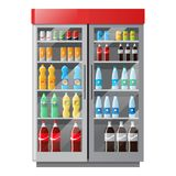 Escaparate de la refrigeración con las bebidas en botellas coloridas en estilo plano ilustración del vector
