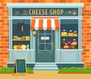 Escaparate de la tienda o de la tienda del queso con la comida y el vino stock de ilustración