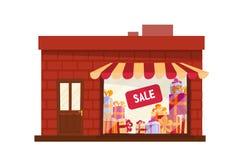 Escaparate, edificio de tienda, vista delantera de la fachada Escaparate plano de la historieta del ejemplo del vector de la hist stock de ilustración