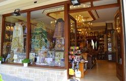 Escaparate Grecia de la tienda de los iconos de Athos Fotos de archivo libres de regalías