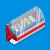 Escaparate isométrico plano fri de la tienda de helado del gelato libre illustration