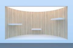Escaparate o podio vacío del círculo con la iluminación y una ventana grande Fotografía de archivo