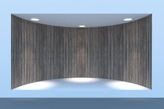 Escaparate o podio vacío del círculo con la iluminación y una ventana grande Imagen de archivo libre de regalías