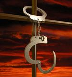 Escape. Freedom (metaphor with the handcuffs Royalty Free Stock Images