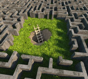 Escape. Tricky to get out of the maze. 3D concept Stock Images