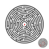 Escape circle labyrinth with entry and exit.vector game maze puzzle with solution.Num.01 Royalty Free Stock Images