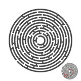 Escape circle labyrinth with entry and exit.vector game maze puzzle with solution.Num.04 royalty free illustration