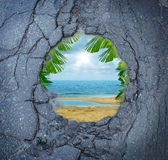 Escape City Stress. Vacation dreaming as a dirty road pothole with the magical reflection of a tropical beach paradise scene as a metaphor for leisure holiday royalty free illustration