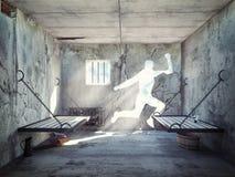 Escape de una celda de prisión Foto de archivo libre de regalías