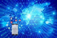 Escape desprotegido de la información privada sobre redes sociales ilustración del vector