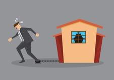 Escape do peso da dívida pesado do empréstimo de hipoteca sobre a casa Fotografia de Stock