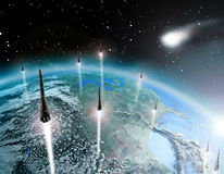 Escape from Earth. While a comet approaches to impact on Earth, several rockets with humans leave the Earth Royalty Free Stock Image