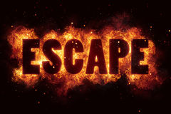 Escape fire flames burn burning text explosion explode Royalty Free Stock Images