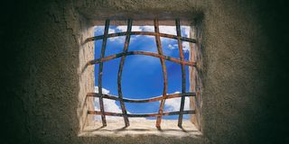 Escape, freedom. Prison, jail window, blue sky view, rusty open bended bars on old wall background. 3d illustration Royalty Free Stock Photo
