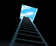 Escape Ladder Means Being Free And Climbing Stock Photo