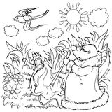 Escape of little girl and swallow. Black-and-white outline (for a coloring book) of the little girl and swallow escaping from mouse and mole (illustration of the stock illustration