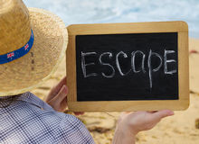Escape message on the  chalkboard Stock Images