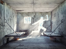 Escape from a prison cell. 3d concept stock illustration