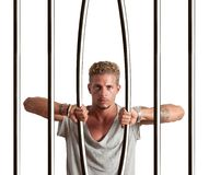 Escape from prison. Concept of businessman that escape from prison stock photo