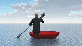 Escape from reality. Surreal painting. Man floats in red umbrella. Human elements were created with 3D software and are not from any actual human likenesses Stock Photo