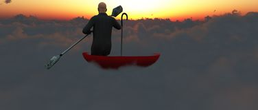 Escape from reality. Surrealism. Man in a suit with paddle floats in red umbrella on clouds. This image created in entirety by me from my own images and is royalty free stock photography