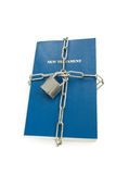 Escape religious freedom concept. New testament chained isolated over white, escape religious freedom concept Stock Image