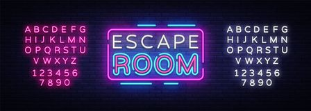 Escape Room neon signs vector. Escape Room Design template neon sign, light banner, neon signboard, nightly bright. Advertising, light inscription. Vector stock illustration