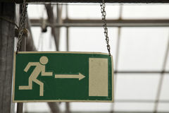 Escape route indicator. Escape route designation in abandoned greenhouse stock photography