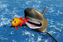 Escape from shark. Scene of the escape from shark Royalty Free Stock Image