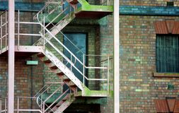 Escape stair. Old steel fire escape stair Royalty Free Stock Image