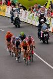 Escape during Tour de Pologne. 6 cyclists escape form peleton on first stage of Tour de Pologne. Rodriges Argueles, Pierre Cazaux, Carlos Oyarzun, Fabio Stock Images