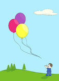 Escaped balloons. Boy playing outdoors looking up in dismay at his three balloons floating away Royalty Free Stock Photography