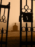 Escaped from the Grave. Closeup of the open gates to the old cemetary Royalty Free Stock Photo