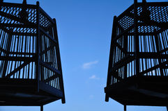 Escaped. Shot of an old antique bird cage contrast with bluesky Stock Photos