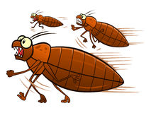 Escaping bedbugs. Escaping group of scared cartoon bedbugs. Cartoon pest series Stock Photo