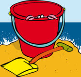 Escaping crab. Crab looking out of bucket on beach Royalty Free Stock Photography