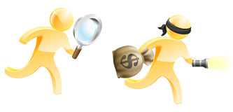 Escaping criminal. A detective mascot with a magnifying glass chasing a criminal with a money bag and torch Stock Photos