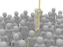 Escaping from crowd. 3d rendered illustration Stock Photos