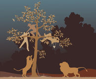 Escaping from lions. Editable vector illustration of three men chased into a tree by a pair of lions Royalty Free Stock Photography