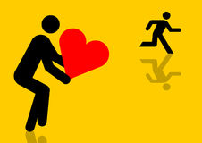 Escaping from love graphic. Man escaping from love sent by someone else graphic Stock Images