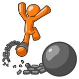 Escaping prison. Cartoon figure breaking free from ball and chain; part of orange man series vector illustration