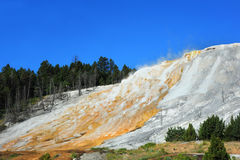 Escaping Steam in Mammoth Hot Springs Stock Photo
