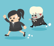Escaping zombie. Illustration Business Woman Cartoons concepts . vector eps10 Stock Images