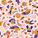 Escapisten in de roze wolken r Hippieontwerp voor stof of omslagdocument royalty-vrije stock afbeelding
