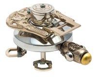 Escarabajo de Steampunk Piezas de bronce y de acero Aislado en la parte posterior del blanco Imagen de archivo